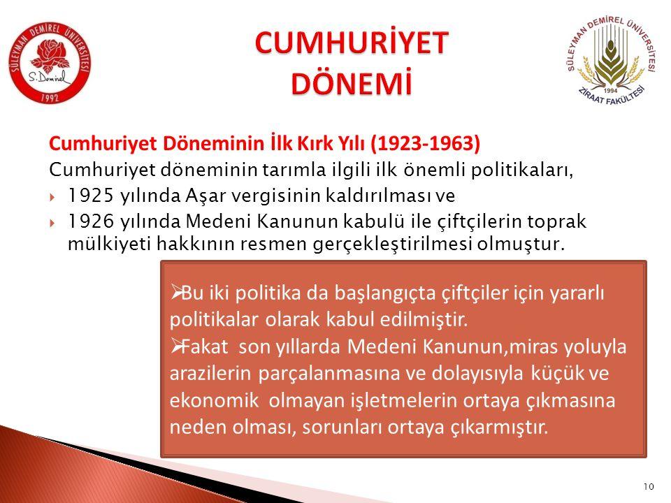 Cumhuriyet Döneminin İlk Kırk Yılı (1923-1963) Cumhuriyet döneminin tarımla ilgili ilk önemli politikaları,  1925 yılında Aşar vergisinin kaldırılmas