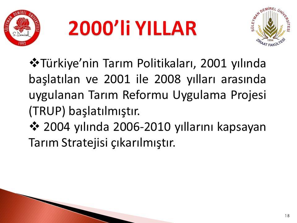  Türkiye'nin Tarım Politikaları, 2001 yılında başlatılan ve 2001 ile 2008 yılları arasında uygulanan Tarım Reformu Uygulama Projesi (TRUP) başlatılmıştır.