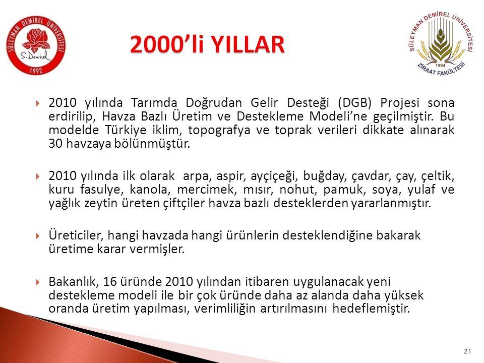  2010 yılında Tarımda Doğrudan Gelir Desteği (DGB) Projesi sona erdirilip, Havza Bazlı Üretim ve Destekleme Modeli'ne geçilmiştir. Bu modelde Türkiye