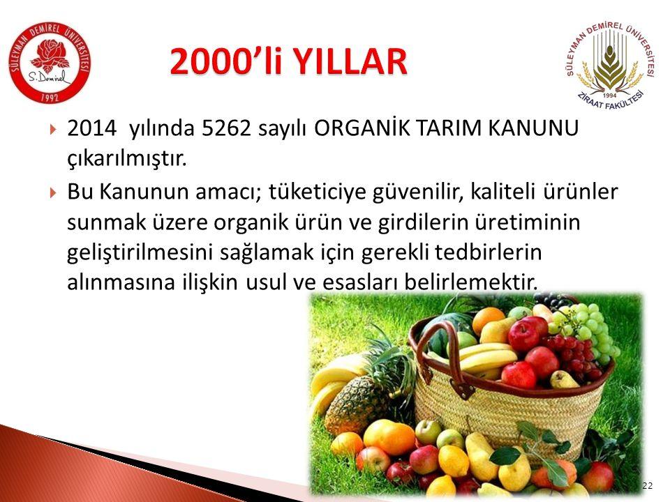  2014 yılında 5262 sayılı ORGANİK TARIM KANUNU çıkarılmıştır.