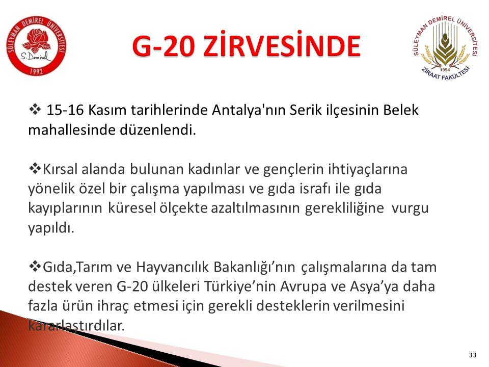 33  15-16 Kasım tarihlerinde Antalya'nın Serik ilçesinin Belek mahallesinde düzenlendi.  Kırsal alanda bulunan kadınlar ve gençlerin ihtiyaçlarına y