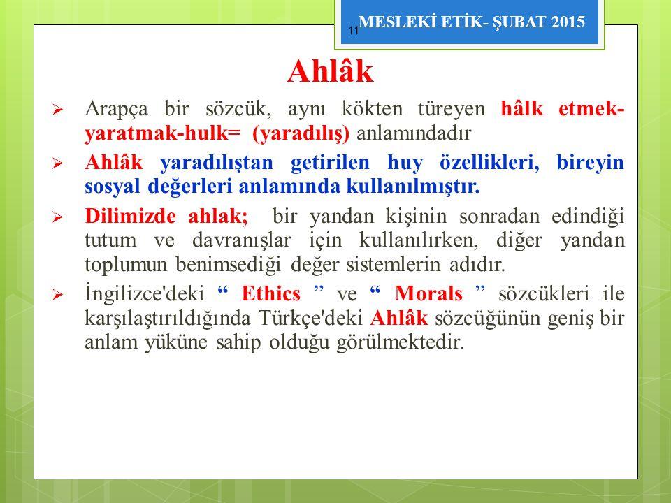 MESLEKİ ETİK- ŞUBAT 2015 Ahlâk  Arapça bir sözcük, aynı kökten türeyen hâlk etmek- yaratmak-hulk= (yaradılış) anlamındadır  Ahlâk yaradılıştan getir