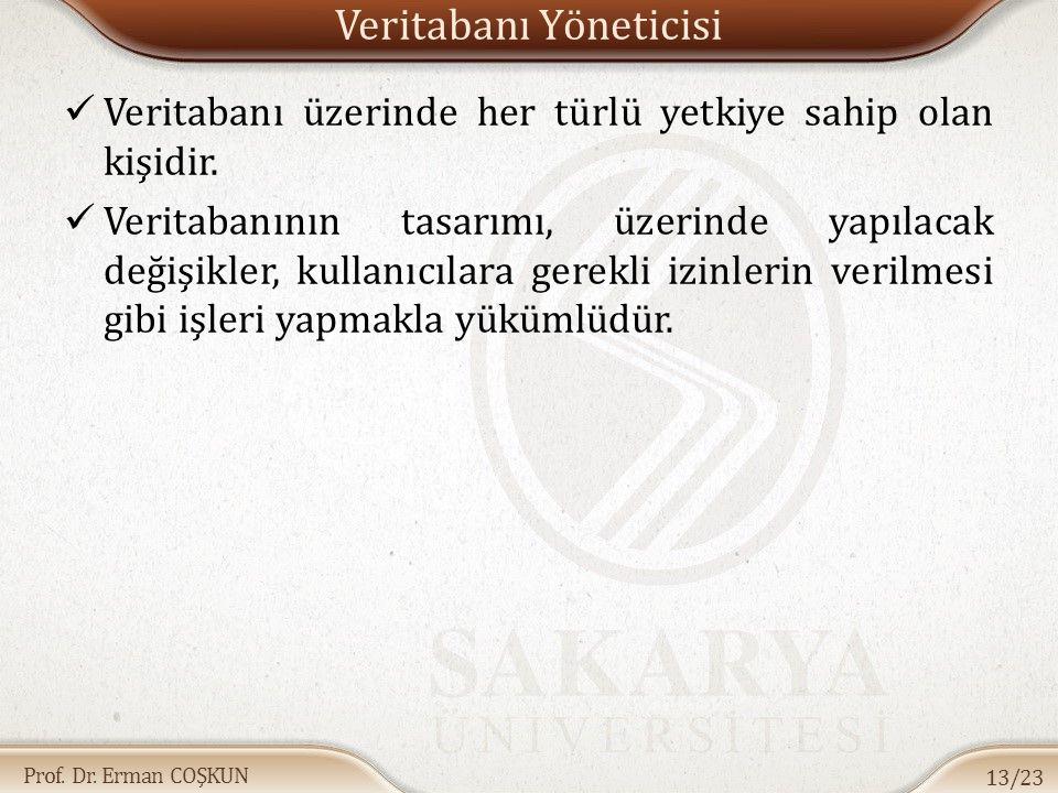 Prof. Dr. Erman COŞKUN Veritabanı Yöneticisi Veritabanı üzerinde her türlü yetkiye sahip olan kişidir. Veritabanının tasarımı, üzerinde yapılacak deği