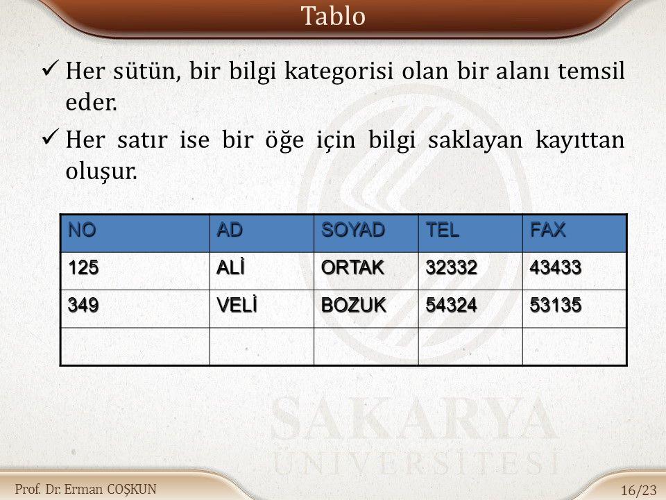 Prof.Dr. Erman COŞKUN Tablo Her sütün, bir bilgi kategorisi olan bir alanı temsil eder.