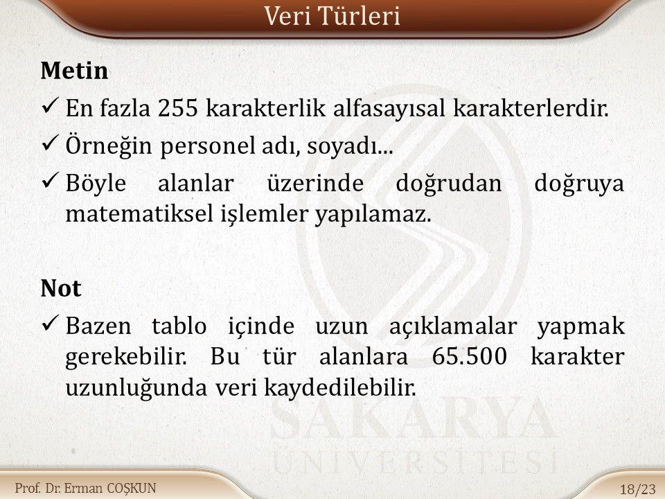 Prof.Dr. Erman COŞKUN Veri Türleri Metin En fazla 255 karakterlik alfasayısal karakterlerdir.