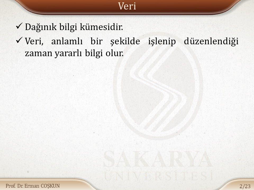 Prof.Dr. Erman COŞKUN Veri Dağınık bilgi kümesidir.