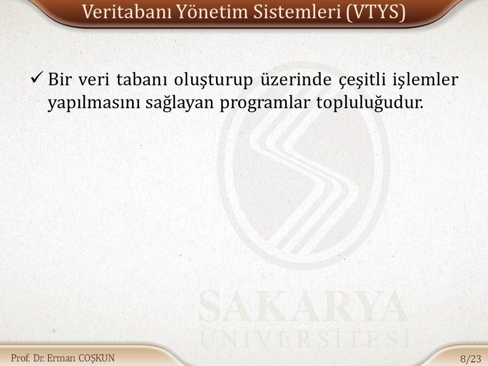 Prof. Dr. Erman COŞKUN Veritabanı Yönetim Sistemleri (VTYS) Bir veri tabanı oluşturup üzerinde çeşitli işlemler yapılmasını sağlayan programlar toplul