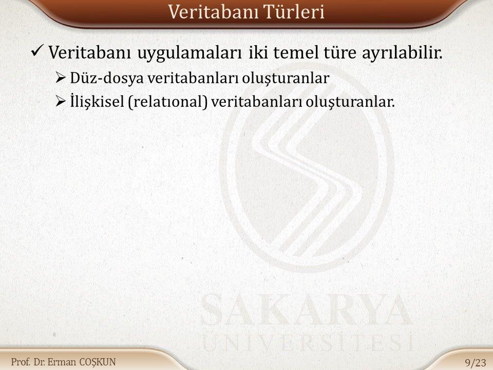 Prof. Dr. Erman COŞKUN Veritabanı Türleri Veritabanı uygulamaları iki temel türe ayrılabilir.  Düz-dosya veritabanları oluşturanlar  İlişkisel (rela