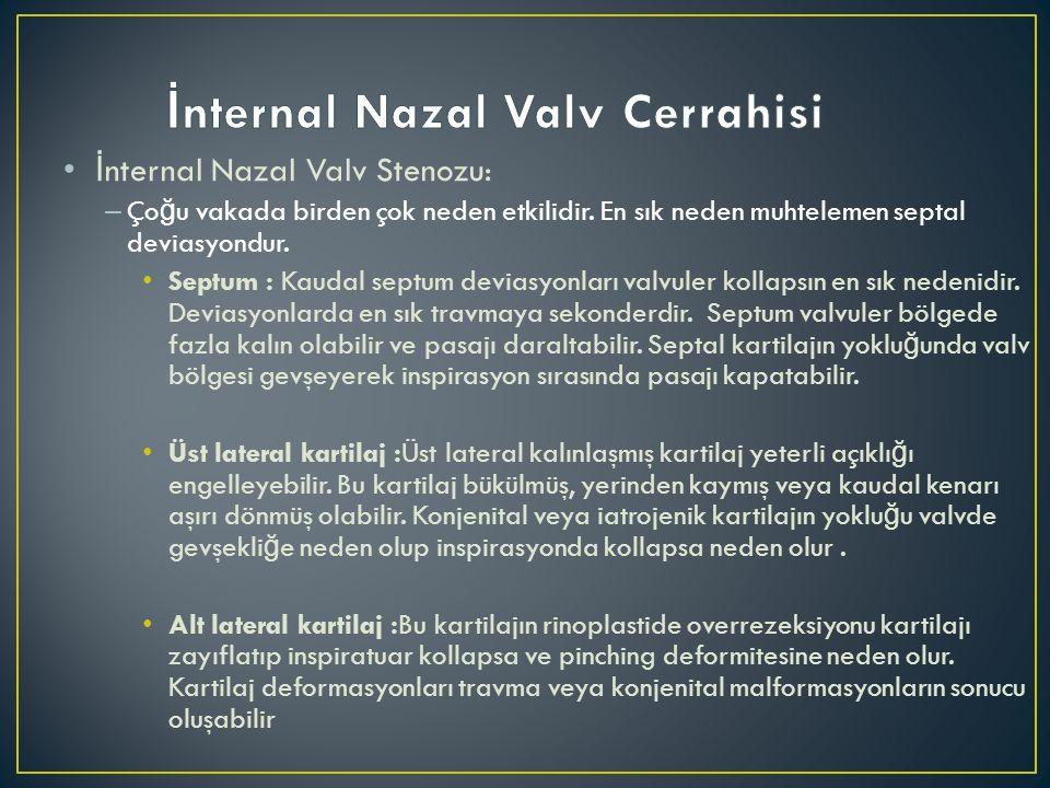 İ nternal Nazal Valv Stenozu: – Ço ğ u vakada birden çok neden etkilidir. En sık neden muhtelemen septal deviasyondur. Septum : Kaudal septum deviasyo