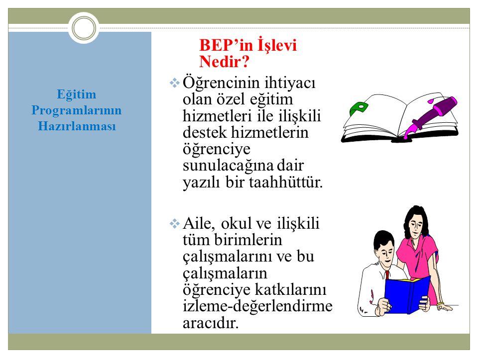 Eğitim Programlarının Hazırlanması BEP'in İşlevi Nedir.