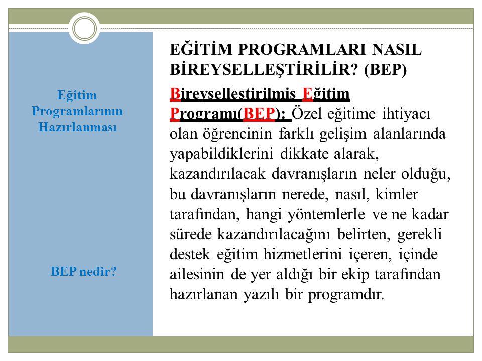 Eğitim Programlarının Hazırlanması Yasal Dayanaklar: 573 sayılı Özel Eğitim Hakkında Kanun Hükmünde Kararname'nin 4.