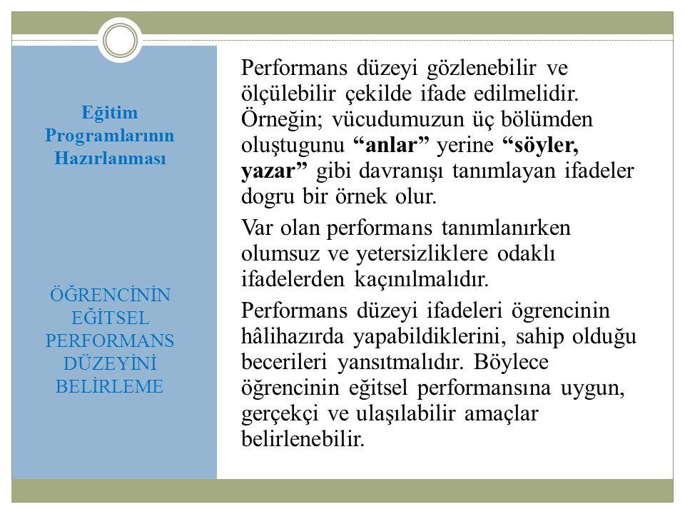 Eğitim Programlarının Hazırlanması ÖĞRENCİNİN EĞİTSEL PERFORMANS DÜZEYİNİ BELİRLEME Performans düzeyi gözlenebilir ve ölçülebilir çekilde ifade edilme