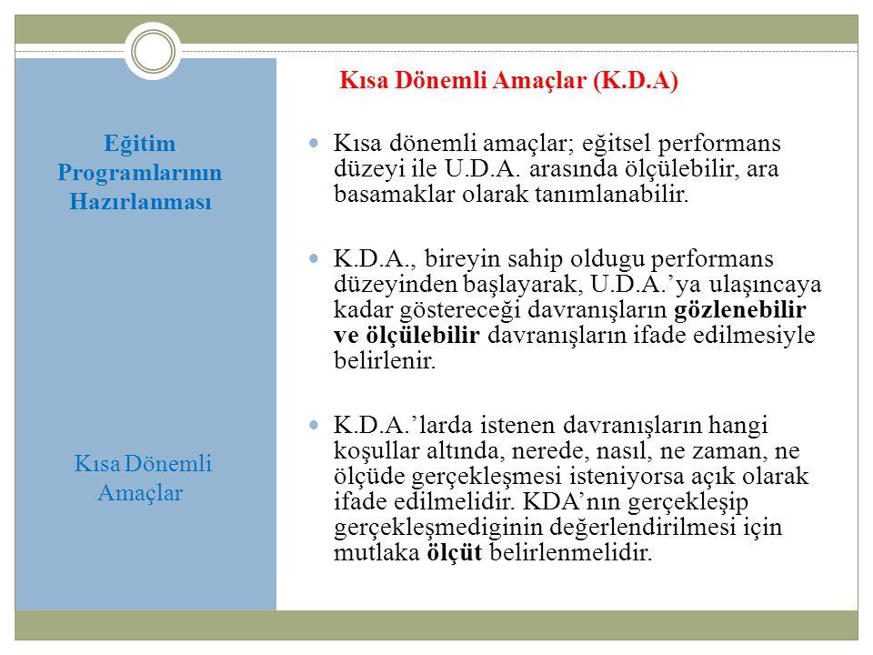 Eğitim Programlarının Hazırlanması Kısa Dönemli Amaçlar Kısa Dönemli Amaçlar (K.D.A) Kısa dönemli amaçlar; eğitsel performans düzeyi ile U.D.A.