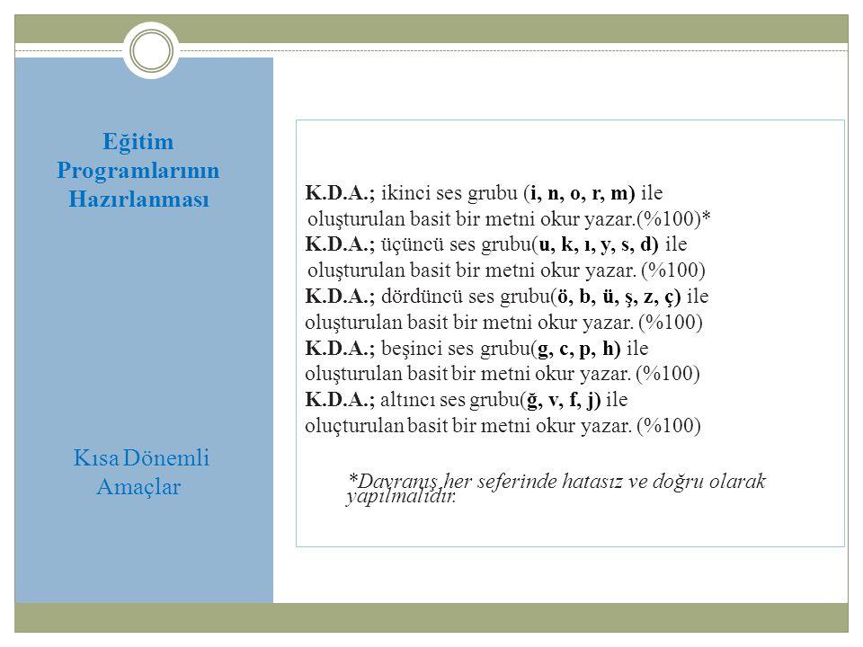 Eğitim Programlarının Hazırlanması Kısa Dönemli Amaçlar K.D.A.; ikinci ses grubu (i, n, o, r, m) ile oluşturulan basit bir metni okur yazar.(%100)* K.