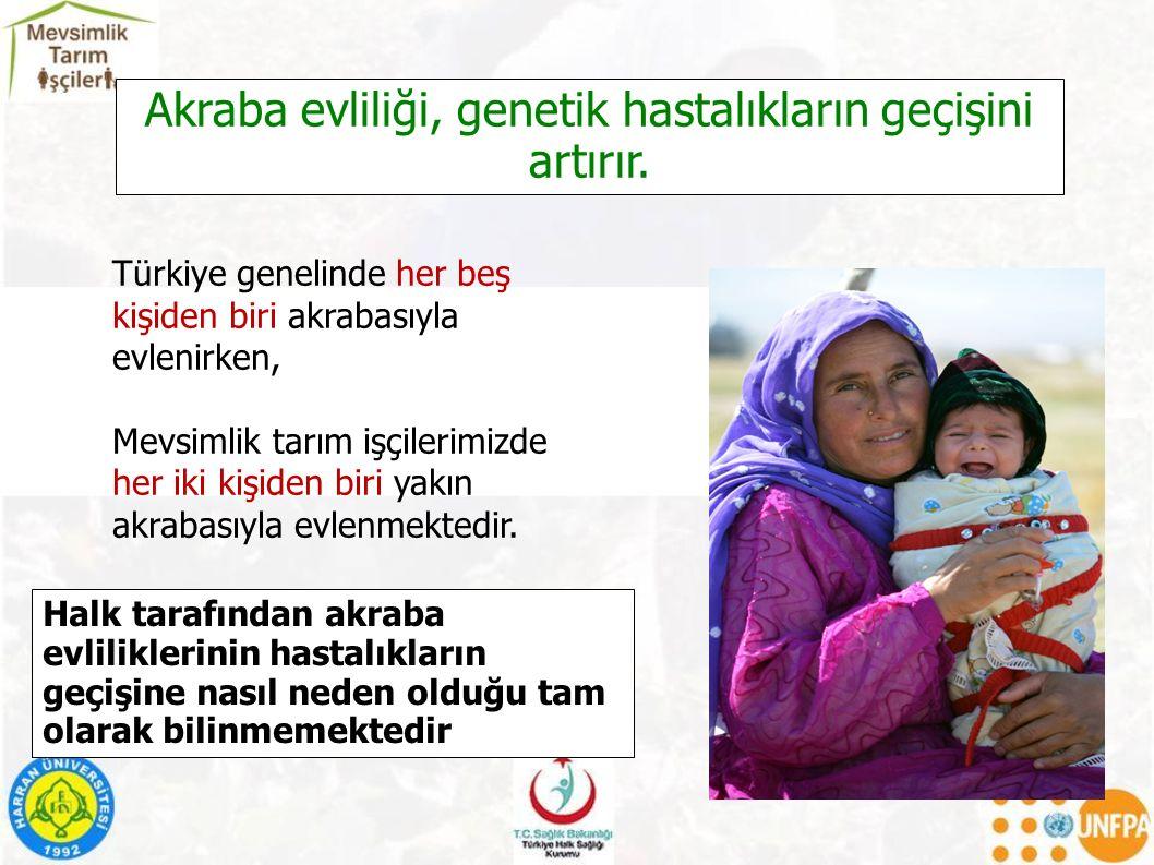 Türkiye genelinde her beş kişiden biri akrabasıyla evlenirken, Mevsimlik tarım işçilerimizde her iki kişiden biri yakın akrabasıyla evlenmektedir.