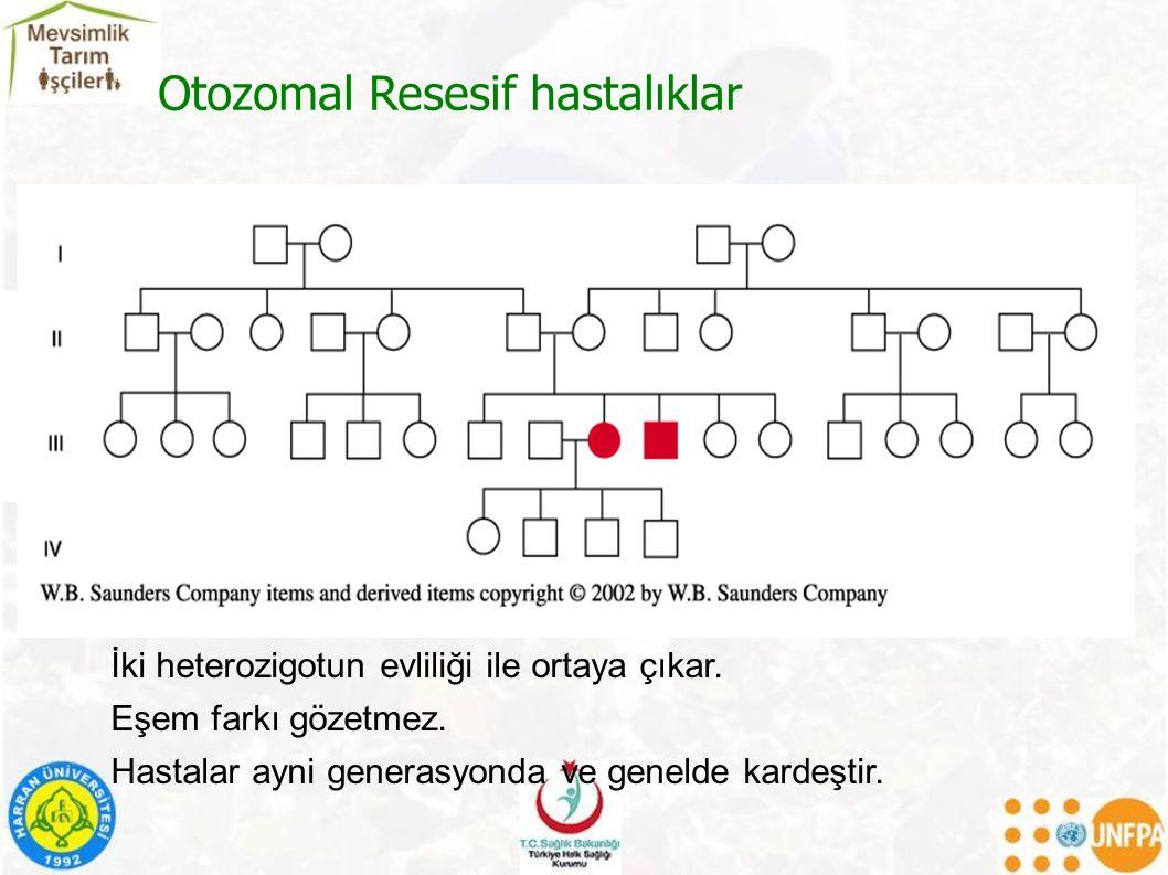 Otozomal Resesif hastalıklar İki heterozigotun evliliği ile ortaya çıkar.
