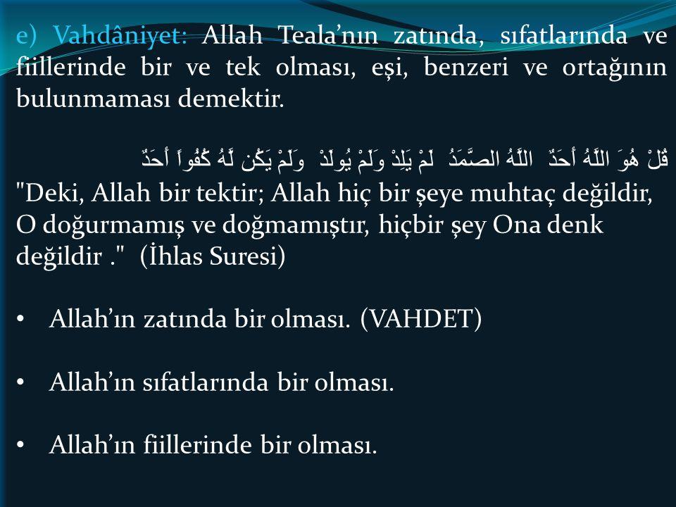 e) Vahdâniyet: Allah Teala'nın zatında, sıfatlarında ve fiillerinde bir ve tek olması, eşi, benzeri ve ortağının bulunmaması demektir. قُلْ هُوَ اللَّ