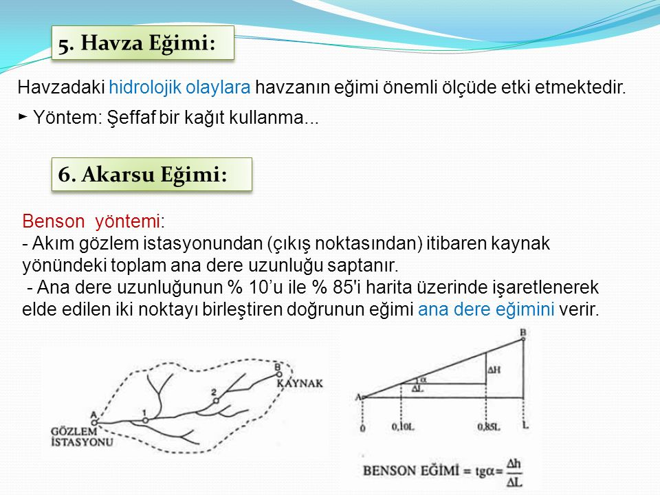 5. Havza Eğimi: Havzadaki hidrolojik olaylara havzanın eğimi önemli ölçüde etki etmektedir. ► Yöntem: Şeffaf bir kağıt kullanma... 6. Akarsu Eğimi: Be