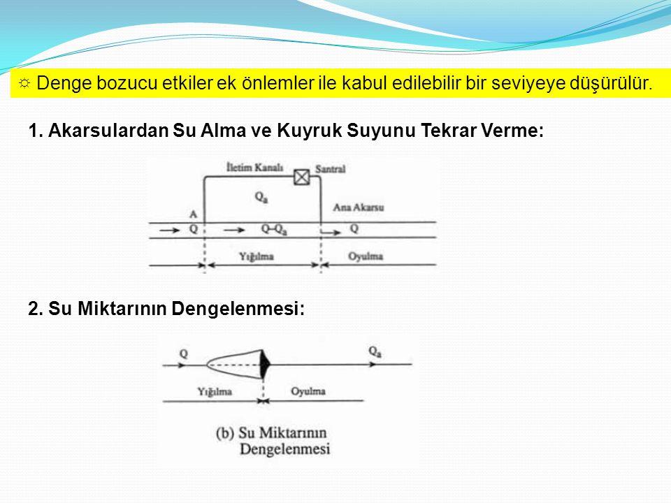 ☼ Denge bozucu etkiler ek önlemler ile kabul edilebilir bir seviyeye düşürülür. 1. Akarsulardan Su Alma ve Kuyruk Suyunu Tekrar Verme: 2. Su Miktarını