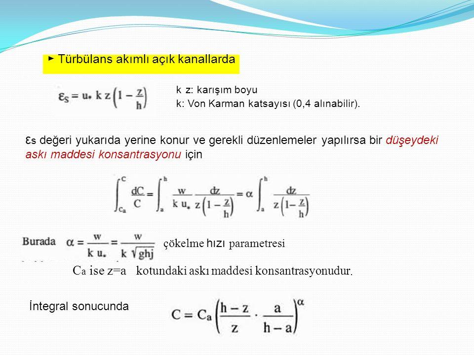 ► Türbülans akımlı açık kanallarda k z: karışım boyu k: Von Karman katsayısı (0,4 alınabilir). ε s değeri yukarıda yerine konur ve gerekli düzenlemele