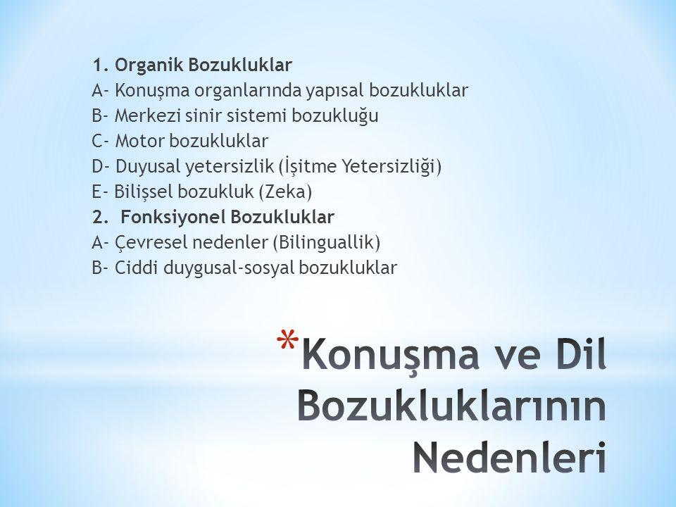 1. Organik Bozukluklar A- Konuşma organlarında yapısal bozukluklar B- Merkezi sinir sistemi bozukluğu C- Motor bozukluklar D- Duyusal yetersizlik (İşi