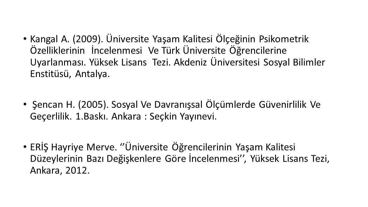 Kangal A. (2009). Üniversite Yaşam Kalitesi Ölçeğinin Psikometrik Özelliklerinin İncelenmesi Ve Türk Üniversite Öğrencilerine Uyarlanması. Yüksek Lisa