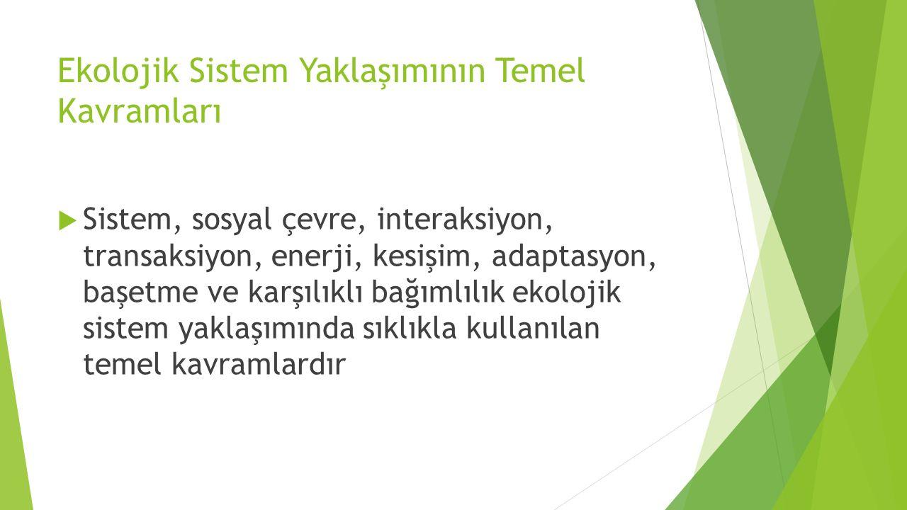 Ekolojik Sistem Yaklaşımının Temel Kavramları  Sistem, sosyal çevre, interaksiyon, transaksiyon, enerji, kesişim, adaptasyon, başetme ve karşılıklı b