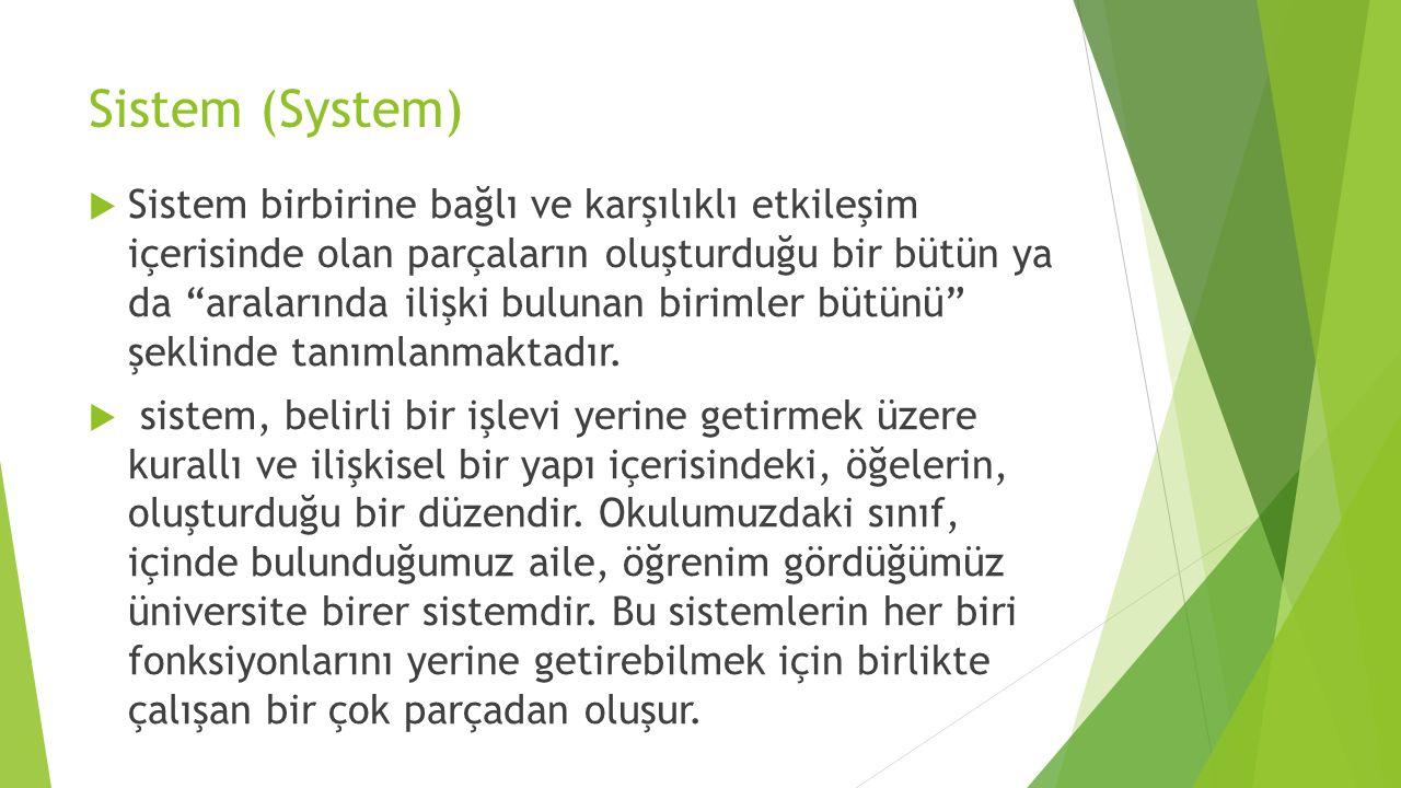 """Sistem (System)  Sistem birbirine bağlı ve karşılıklı etkileşim içerisinde olan parçaların oluşturduğu bir bütün ya da """"aralarında ilişki bulunan bir"""