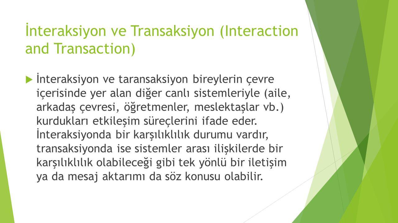 İnteraksiyon ve Transaksiyon (Interaction and Transaction)  İnteraksiyon ve taransaksiyon bireylerin çevre içerisinde yer alan diğer canlı sistemleri