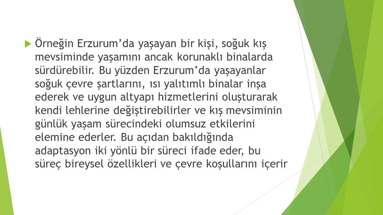  Örneğin Erzurum'da yaşayan bir kişi, soğuk kış mevsiminde yaşamını ancak korunaklı binalarda sürdürebilir. Bu yüzden Erzurum'da yaşayanlar soğuk çev
