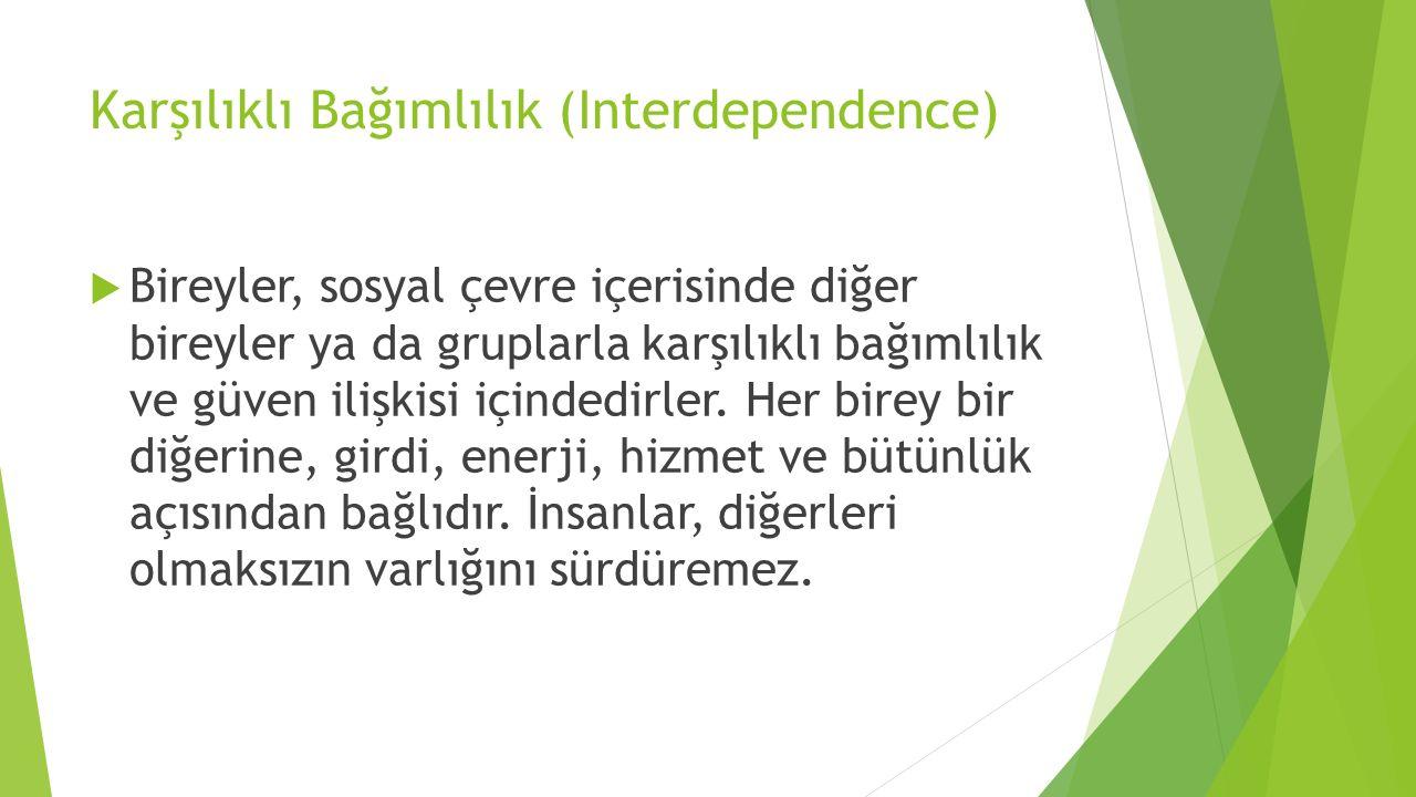 Karşılıklı Bağımlılık (Interdependence)  Bireyler, sosyal çevre içerisinde diğer bireyler ya da gruplarla karşılıklı bağımlılık ve güven ilişkisi içi