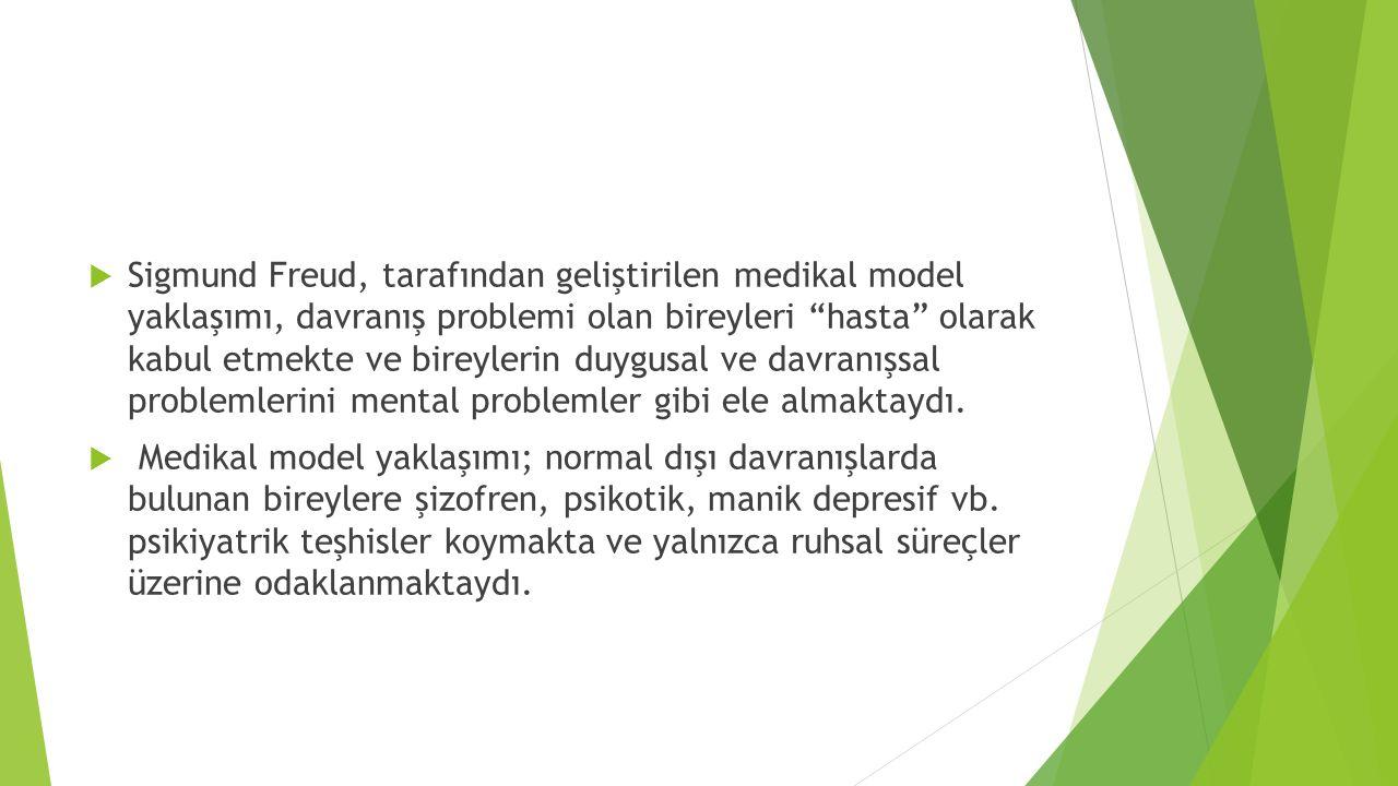 """ Sigmund Freud, tarafından geliştirilen medikal model yaklaşımı, davranış problemi olan bireyleri """"hasta"""" olarak kabul etmekte ve bireylerin duygusal"""