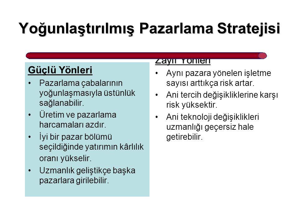 Yoğunlaştırılmış Pazarlama Stratejisi Güçlü Yönleri Pazarlama çabalarının yoğunlaşmasıyla üstünlük sağlanabilir. Üretim ve pazarlama harcamaları azdır