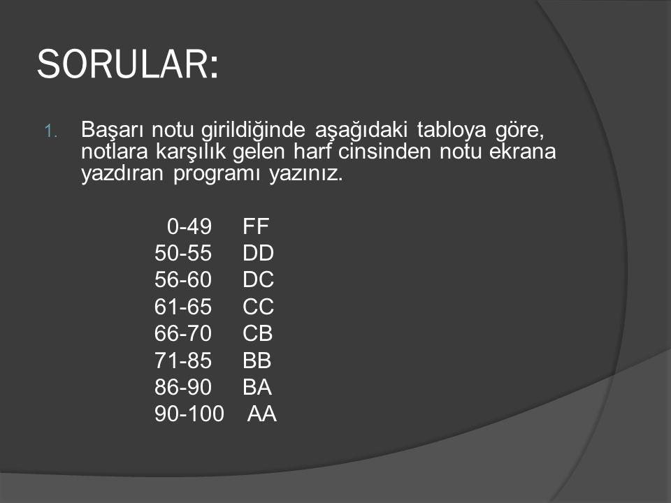 SORULAR: 1. Başarı notu girildiğinde aşağıdaki tabloya göre, notlara karşılık gelen harf cinsinden notu ekrana yazdıran programı yazınız. 0-49 FF 50-5