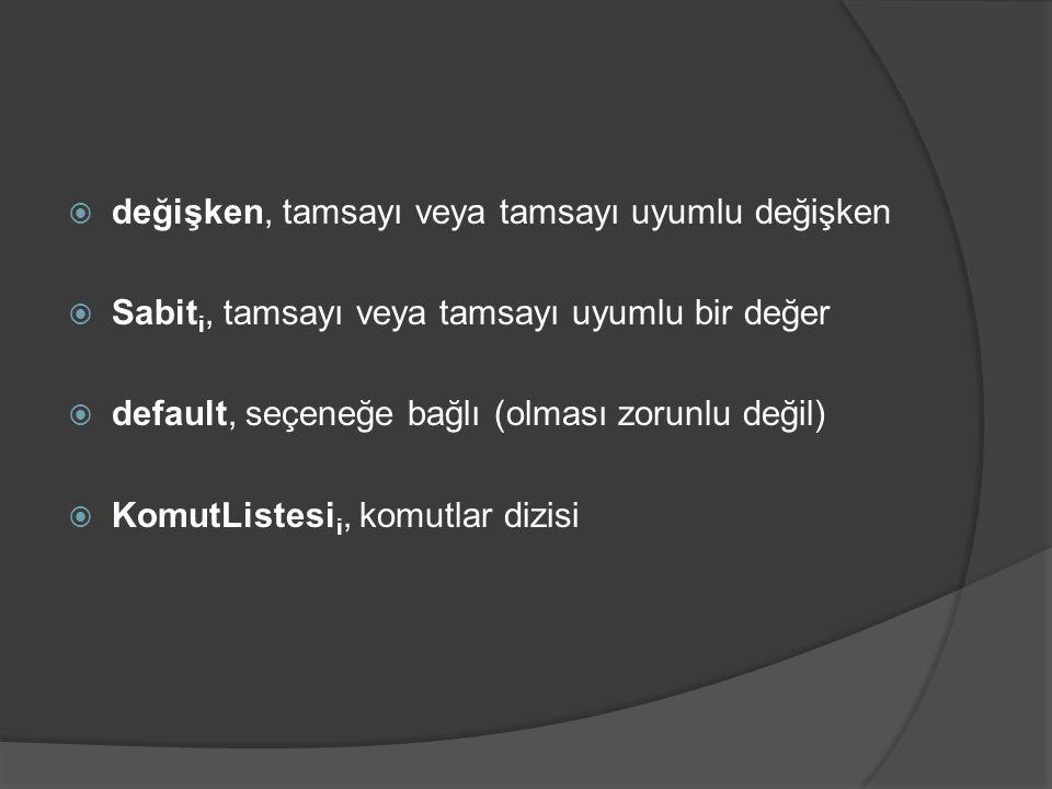  değişken, tamsayı veya tamsayı uyumlu değişken  Sabit i, tamsayı veya tamsayı uyumlu bir değer  default, seçeneğe bağlı (olması zorunlu değil)  K