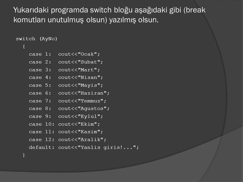 Yukarıdaki programda switch bloğu aşağıdaki gibi (break komutları unutulmuş olsun) yazılmış olsun. switch (AyNo) { case 1: cout<<
