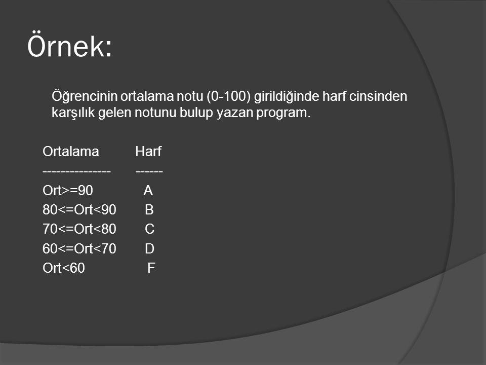 Örnek: Öğrencinin ortalama notu (0-100) girildiğinde harf cinsinden karşılık gelen notunu bulup yazan program. Ortalama Harf --------------- ------ Or