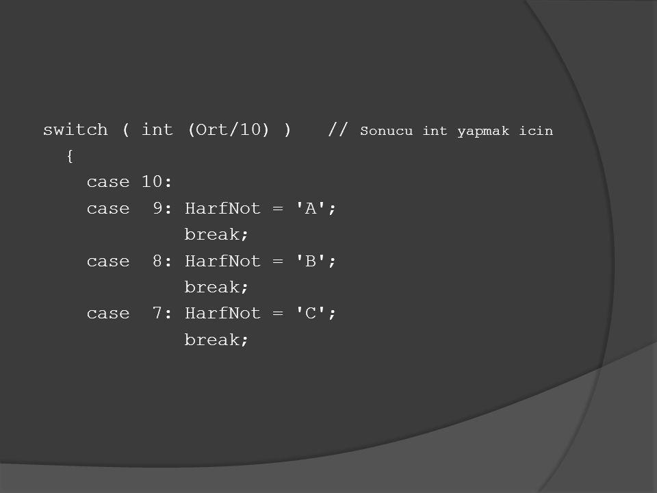switch ( int (Ort/10) ) // Sonucu int yapmak icin { case 10: case 9: HarfNot = 'A'; break; case 8: HarfNot = 'B'; break; case 7: HarfNot = 'C'; break;