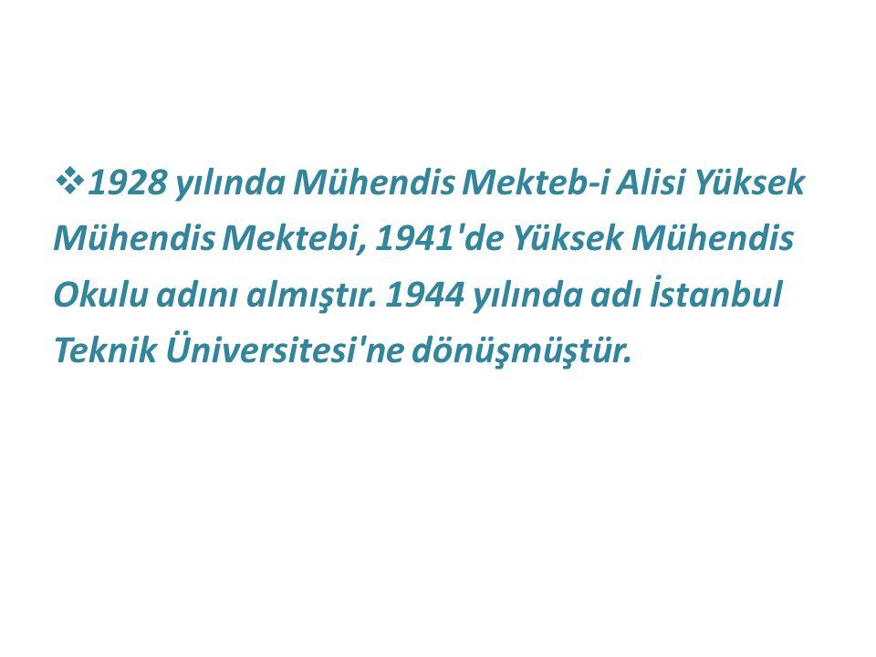  1928 yılında Mühendis Mekteb-i Alisi Yüksek Mühendis Mektebi, 1941'de Yüksek Mühendis Okulu adını almıştır. 1944 yılında adı İstanbul Teknik Ünivers