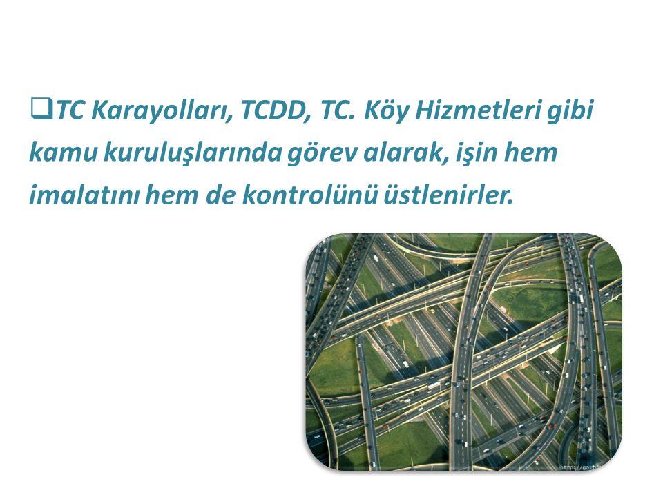  TC Karayolları, TCDD, TC. Köy Hizmetleri gibi kamu kuruluşlarında görev alarak, işin hem imalatını hem de kontrolünü üstlenirler.