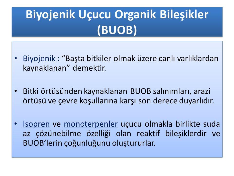 """Biyojenik Uçucu Organik Bileşikler (BUOB) Biyojenik : """"Başta bitkiler olmak üzere canlı varlıklardan kaynaklanan"""" demektir. Bitki örtüsünden kaynaklan"""