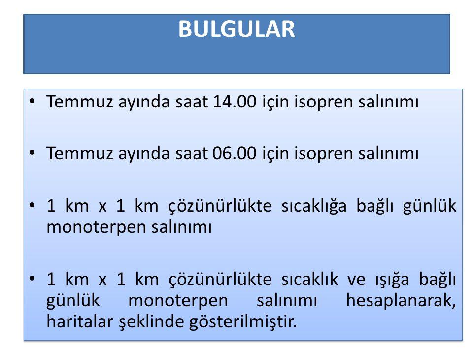 BULGULAR Temmuz ayında saat 14.00 için isopren salınımı Temmuz ayında saat 06.00 için isopren salınımı 1 km x 1 km çözünürlükte sıcaklığa bağlı günlük