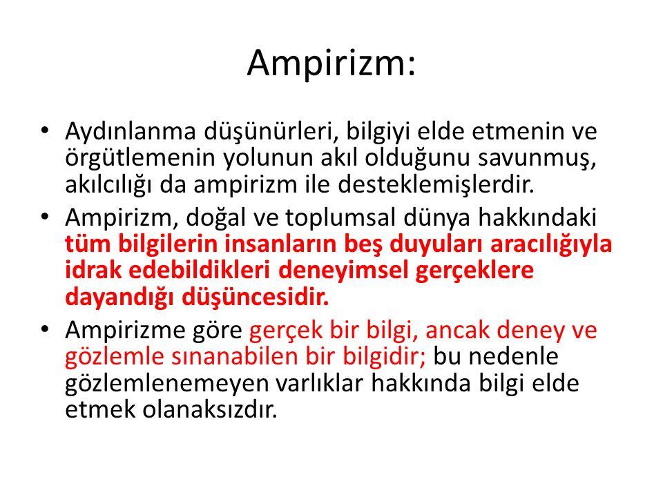Ampirizm: Aydınlanma düşünürleri, bilgiyi elde etmenin ve örgütlemenin yolunun akıl olduğunu savunmuş, akılcılığı da ampirizm ile desteklemişlerdir.