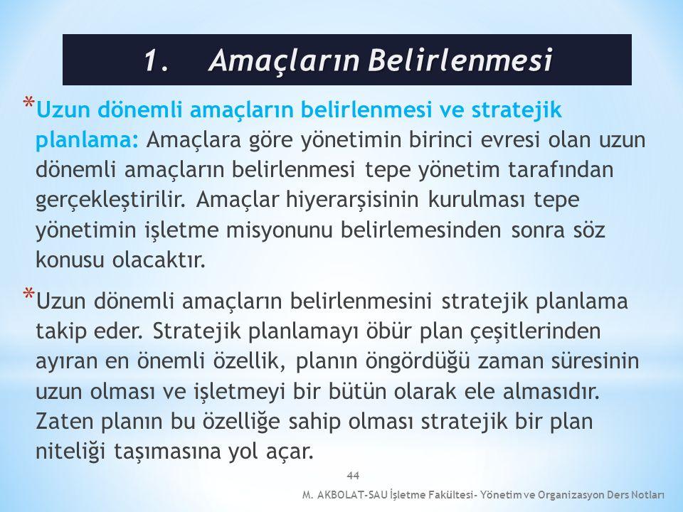 44 * Uzun dönemli amaçların belirlenmesi ve stratejik planlama: Amaçlara göre yönetimin birinci evresi olan uzun dönemli amaçların belirlenmesi tepe y