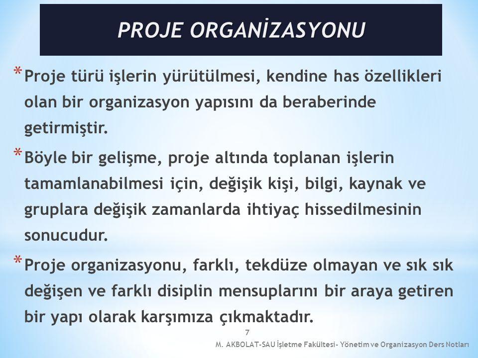 7 * Proje türü işlerin yürütülmesi, kendine has özellikleri olan bir organizasyon yapısını da beraberinde getirmiştir. * Böyle bir gelişme, proje altı