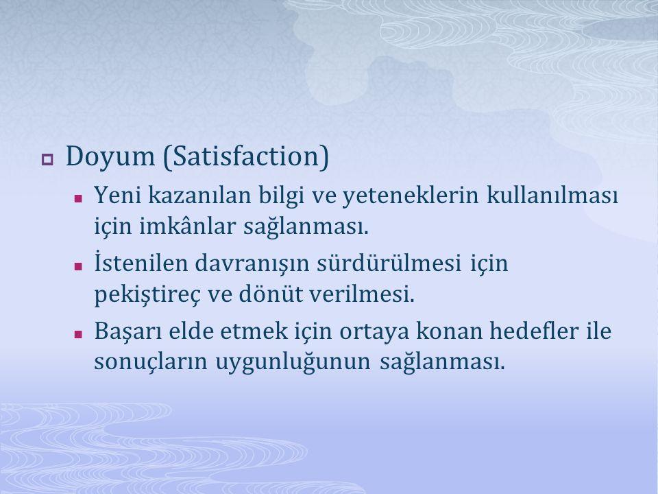  Doyum (Satisfaction) Yeni kazanılan bilgi ve yeteneklerin kullanılması için imkânlar sağlanması.