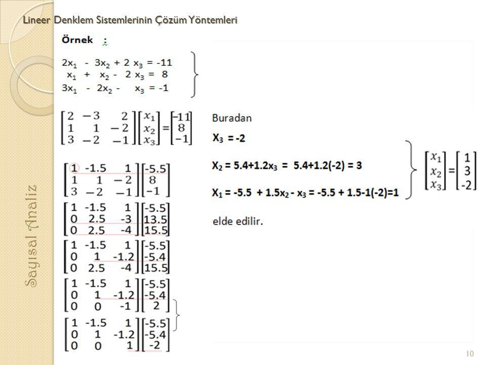 Lineer Denklem Sistemlerinin Çözüm Yöntemleri Sayısal Analiz 10