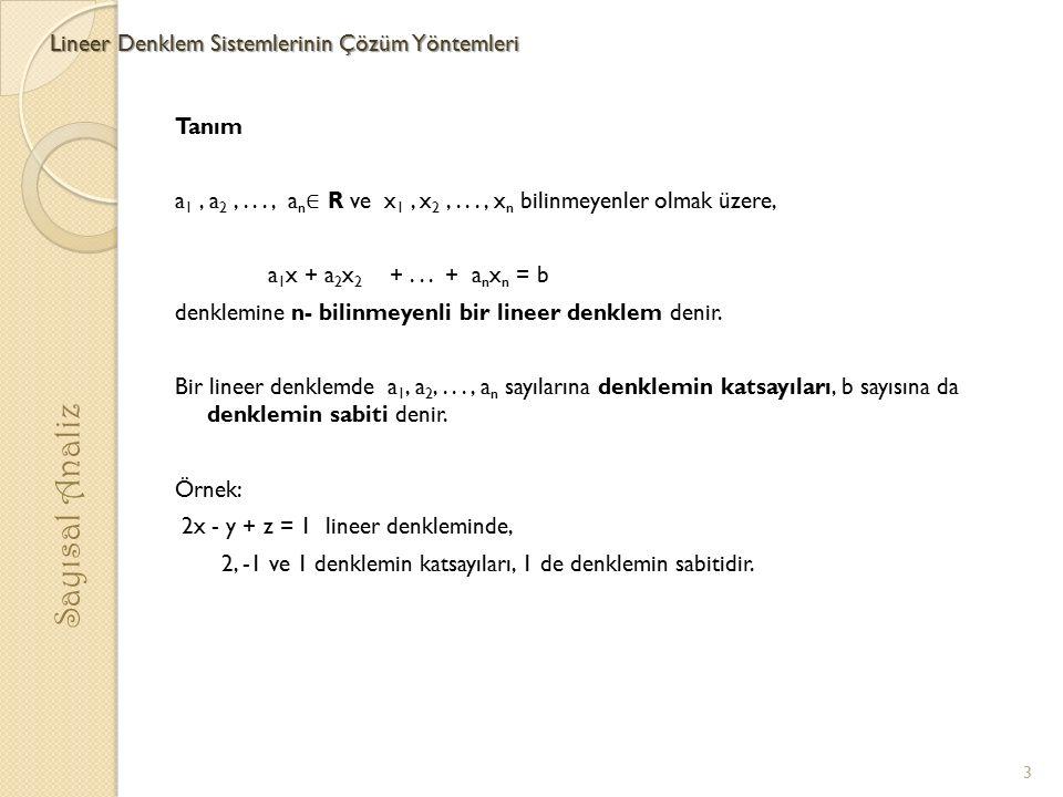Tanım a 1, a 2,..., a n ∈ R ve x 1, x 2,..., x n bilinmeyenler olmak üzere, a 1 x + a 2 x 2 +... + a n x n = b denklemine n- bilinmeyenli bir lineer d