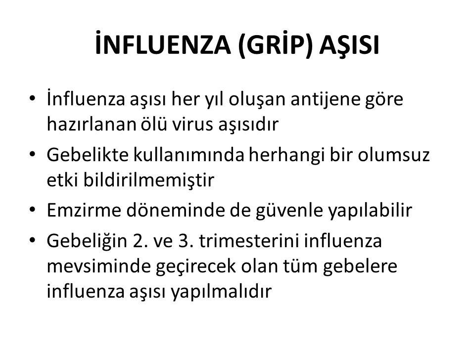 İNFLUENZA (GRİP) AŞISI İnfluenza aşısı her yıl oluşan antijene göre hazırlanan ölü virus aşısıdır Gebelikte kullanımında herhangi bir olumsuz etki bildirilmemiştir Emzirme döneminde de güvenle yapılabilir Gebeliğin 2.