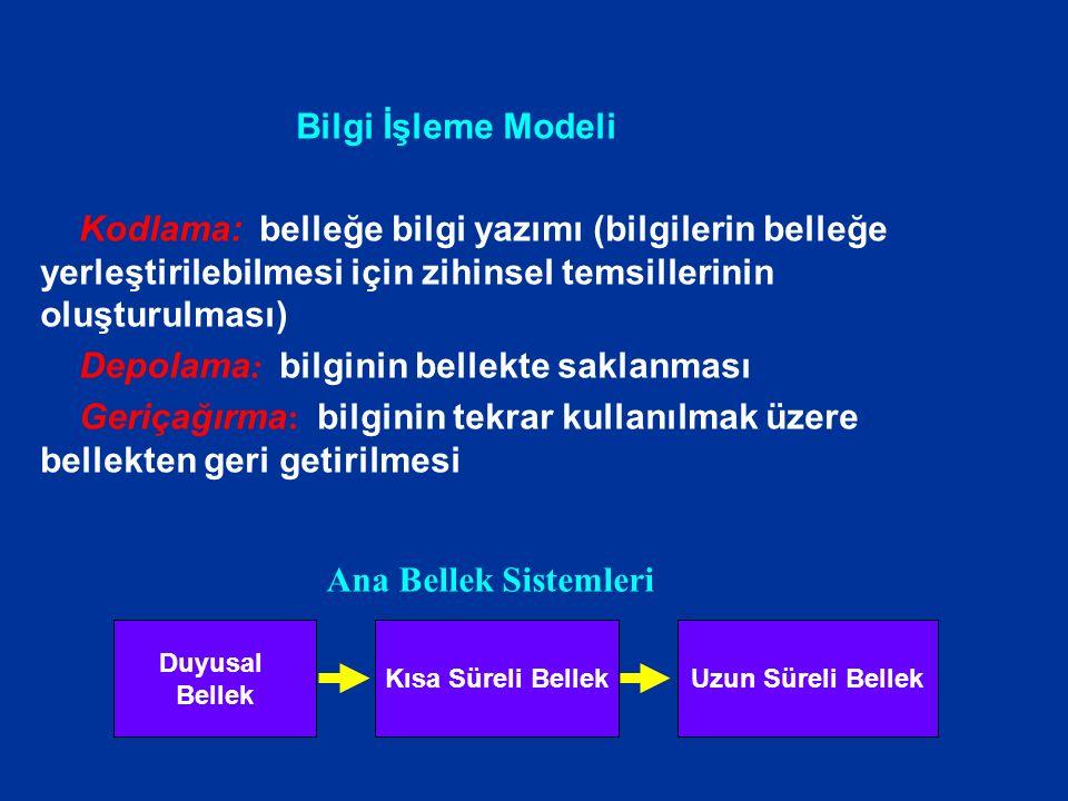 Bilgi İşleme Modeli Kodlama: belleğe bilgi yazımı (bilgilerin belleğe yerleştirilebilmesi için zihinsel temsillerinin oluşturulması) Depolama : bilgin